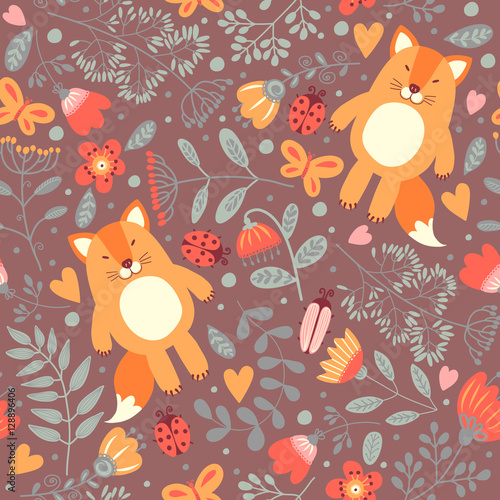 Cotton fabric Seamless pattern with foxes
