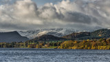A view over Ullswater in the Lake district national park. Snow capped mountains in the distance
