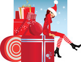 christmas fashion girl on box whith gift in dress and hat