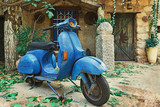 blue, old scooter