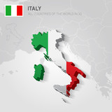 Italy and neighboring countries. Europe administrative map.