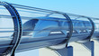 monorail futuristic train in tunnel. 3d rendering - 128942036