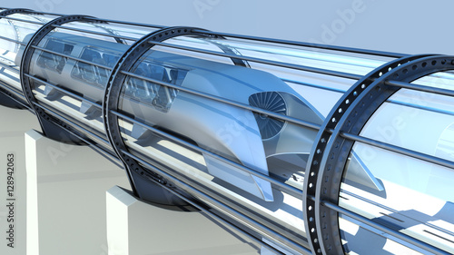 monorail futuristic train in tunnel. 3d rendering - 128942063