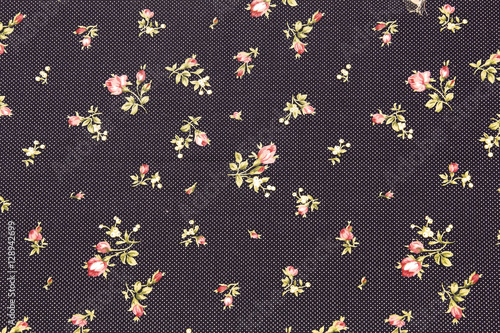 Colorful Cotton fabric in vintage roses pattern for background o - 128942699