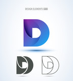 D company vector logo sign and symbol design. Vector abstract design elements. Color letters. Line art. Modern abstract design shapes on white background.