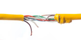 Damage to the cable network with torn wire on white background - 128946208