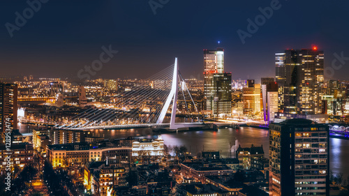 Fotobehang Rotterdam Rotterdam night in holland