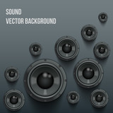 Background of Sound speakers Dynamics with shadows. Vector Illustration.