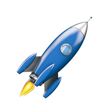 Blue Rocket Sticker