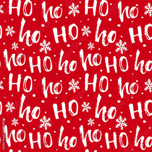 Cotton fabric Hohoho pattern, Santa Claus laugh. Seamless texture for Christmas design. Vector red background with handwritten words ho