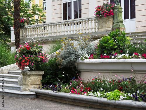 Poster Pyrénées-orientales - Vernet-les-Bains - Parterre de fleurs