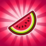 Fototapety Watermelon fruit icon on pink bursting background
