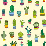 Seamless pattern doodle cactus and succulents - 128996400