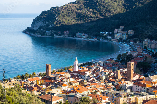 Foto op Aluminium Liguria View of sea village of Noli, Savona, Italy