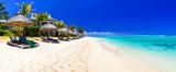 Fototapety Serene tropical holidays - perfect white sandy beaches of Mauritius island