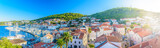 Korcula cityscape aerial panorama. / Aerial panorama of town Korcula, historic and touristic center in Croatia, Europe summertime. - 129013083