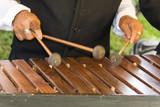 Close-up shot of a marimba or Hormigo keyboard. Guatemala