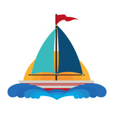 sailboat maritime isolated icon vector illustration design