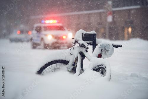 Plakat Snow storm in the city