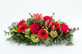 Fototapety olorful flower arrangement wreath for funerals isolated on white