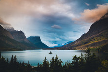 Wild Goose Island under colorful clouds. Glacier National Park, Montana