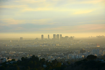 Los Angeles from the top at the sunset
