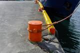Bollard with mooring rope