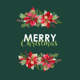 New Year and Christmas Card - Vintage Flowers Poinsettia