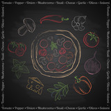 Colorful hand drawn ingredients for pizza on black background  - 129041486