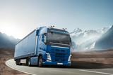 LKW fährt durch eine Berglandschaft - 129043004