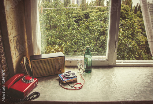 Vintage objects on windowsill. Retro interior