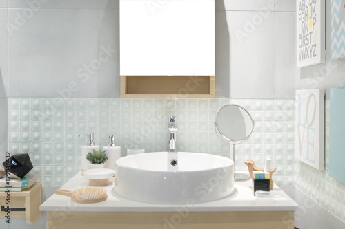 Fototapeta Interior of bathroom with sink basin faucet and mirror. Modern d