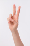 Fototapety hand showing, pointing up 2 fingers, victory hand gesture