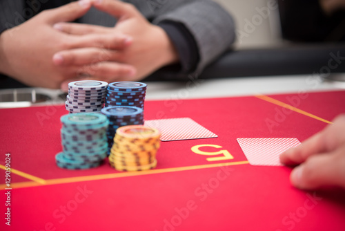 Poster Dealing Poker Cards on Casino Table