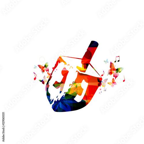 Plakát Colorful wooden dreidel for Hanukkah Jewish holiday