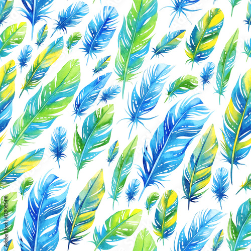 Cotton fabric Seamless watercolor pattern with blue and green feathers