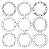 hand drawn round frames, circle ornaments - 129067098