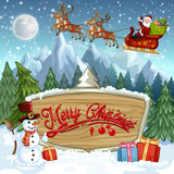 Christmas banners with Santa Claus riding on sleigh with reindeer  and funny snowman