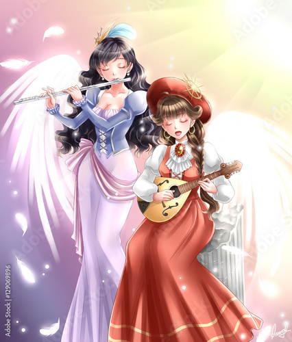 Sound of heaven japanese anime manga style illustration - 129069896
