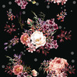 Floral pattern with roses and field flowers in watercolor style