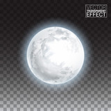 Realistic detailed full big moon isolated on transparent background. Creative Vector illustration