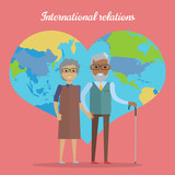 International Relations. Travel in Old Age Concept