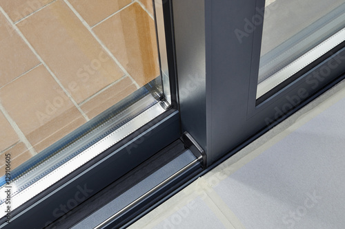 Poster Sliding glass door detail and rail