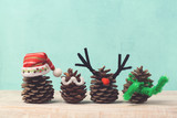 Christmas holiday concept with pinecorn decorations.