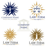 Law Firm Logos. Law firm logo, rose of wind, scales of justice, attorney, lighthouse - 129109062