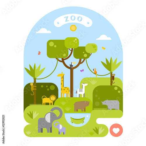 Fotobehang Zoo Beautiful animals in the zoo. Vector flat illustration.