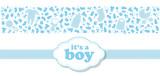 schöne und süße Karte zur Geburt für Jungs in blau mit Icons und Banderole - 129116053