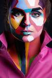 Model with a pop art makeup on her face