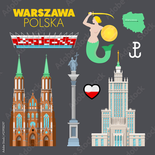 Warsaw Poland Travel Doodle with Warsaw Architecture, Mermaid Symbol and Flag. Vector illustration