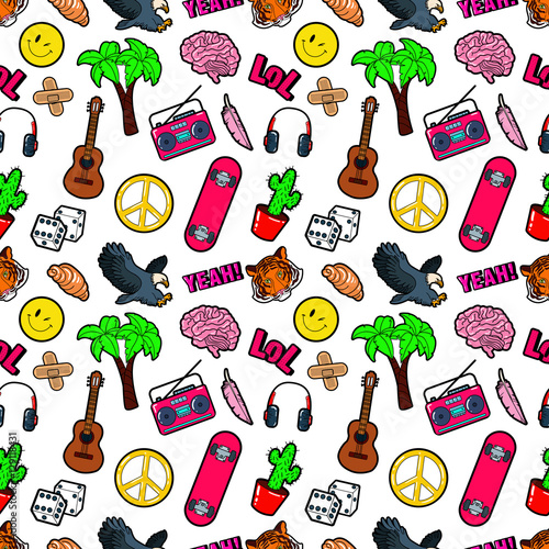 Fototapeta Fashion Seamless Comic Style Background with Brain, Lol, Cactus, Guitar and Palm. Vector Retro Pattern